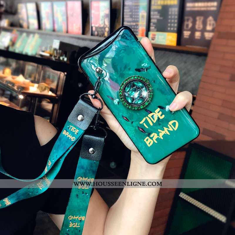 Coque Oppo Find X Fluide Doux Silicone Tout Compris Légère Étui Créatif Téléphone Portable Verte