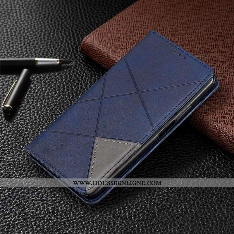 Coque Oppo Find X Protection Créatif Cuir Carte Bleu Téléphone Portable Tout Compris