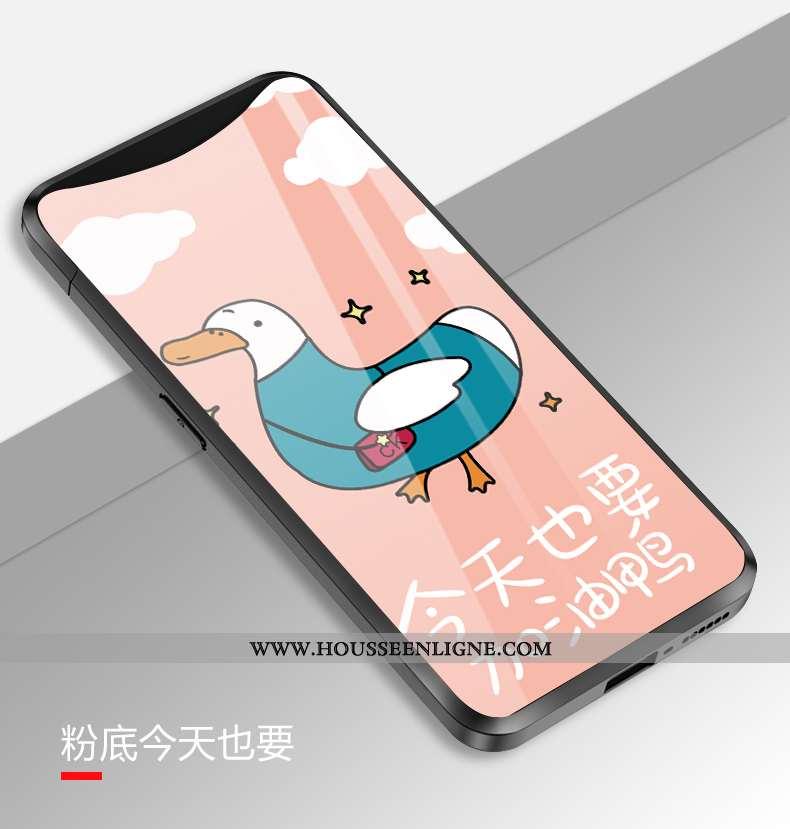 Coque Oppo Find X Verre Dessin Animé Amoureux Simple Téléphone Portable Rose