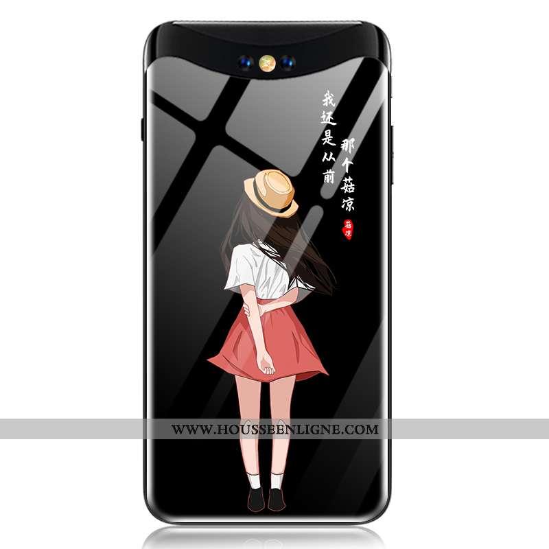 Coque Oppo Find X Verre Fluide Doux Protection Juvénile Téléphone Portable Tout Compris Amoureux Noi