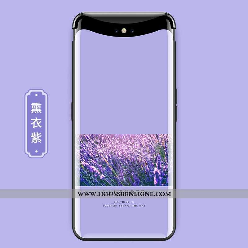 Coque Oppo Find X Verre Personnalité Ultra Téléphone Portable Fleur Protection Créatif Violet