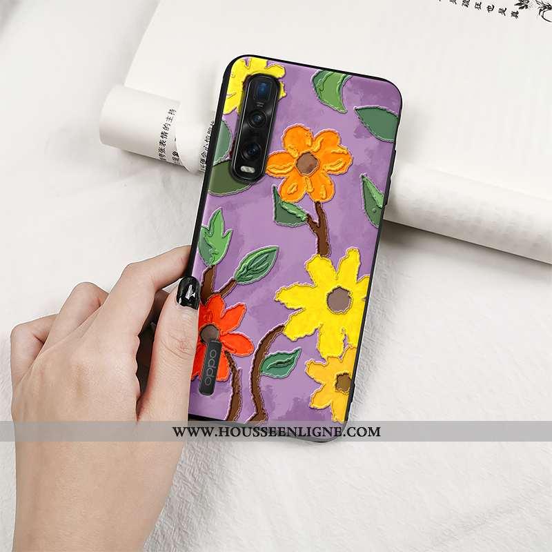 Coque Oppo Find X2 Pro Protection Délavé En Daim Violet Tout Compris Vintage Créatif Téléphone Porta