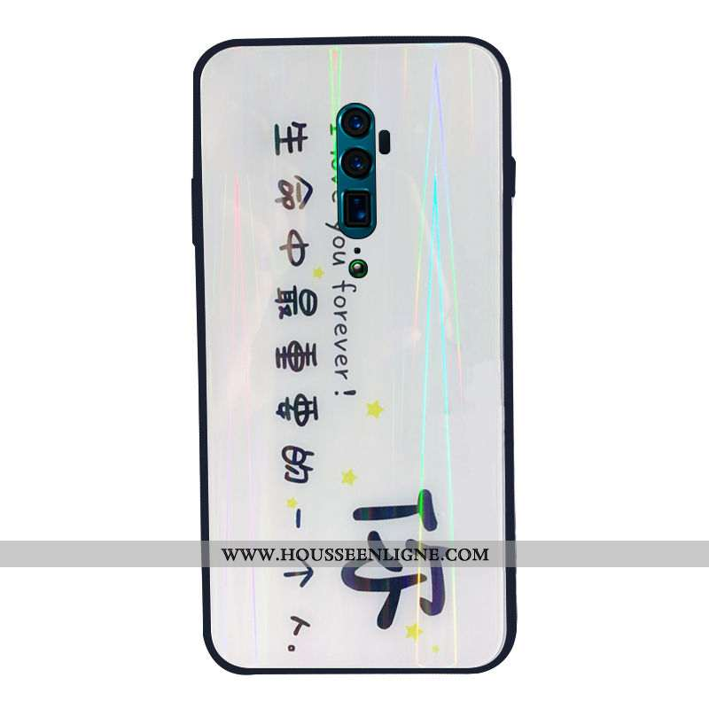 Coque Oppo Reno 10x Zoom Fluide Doux Verre Tendance Téléphone Portable Net Rouge Simple Blanc Blanch