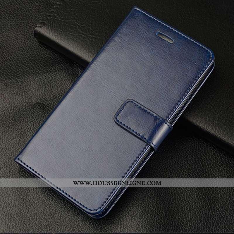 Coque Oppo Reno 3 Cuir Protection Bleu Marin Incassable Téléphone Portable Étui Luxe Bleu Foncé