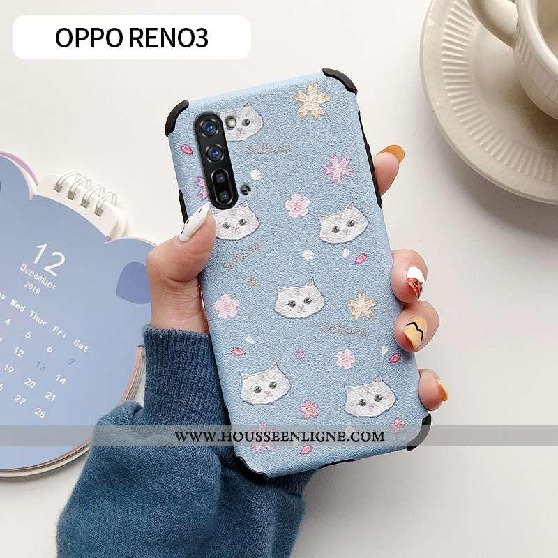 Coque Oppo Reno 3 Dessin Animé Charmant Fleur Silicone Téléphone Portable Incassable Bleu