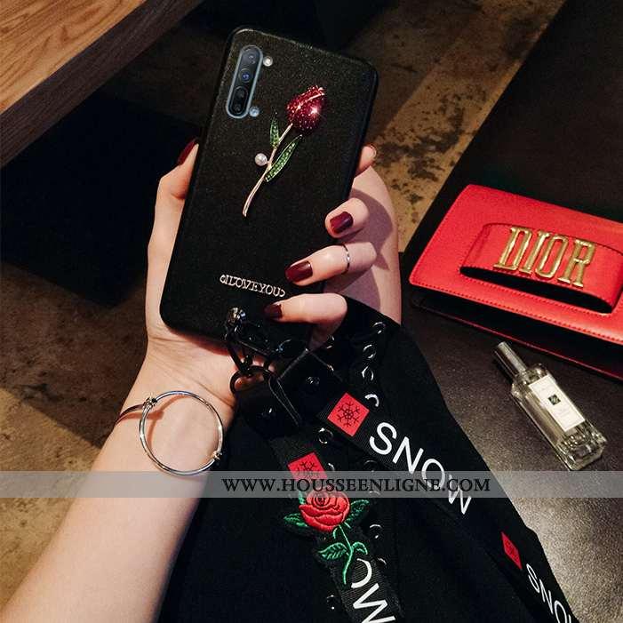 Coque Oppo Reno 3 Ornements Suspendus Tendance Noir Téléphone Portable Silicone Protection