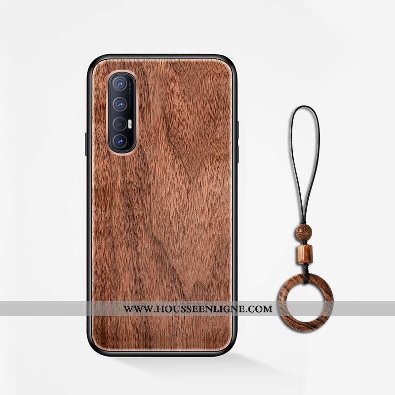 Coque Oppo Reno 3 Pro Délavé En Daim En Bois Protection Téléphone Portable Incassable Marron
