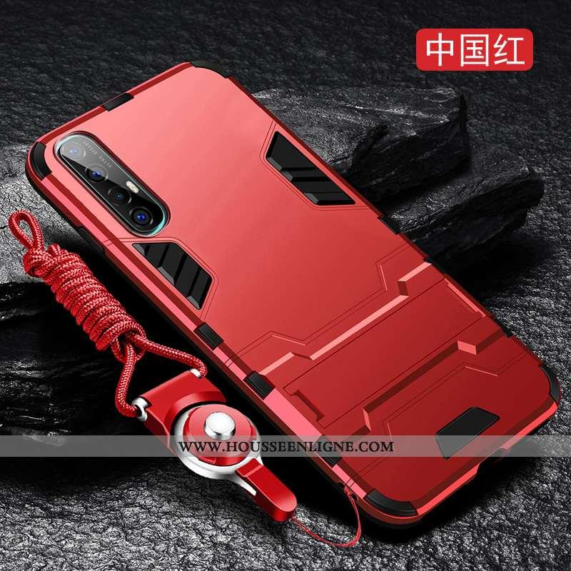 Coque Oppo Reno 3 Pro Délavé En Daim Ultra Fluide Doux Étui Incassable Protection Rouge