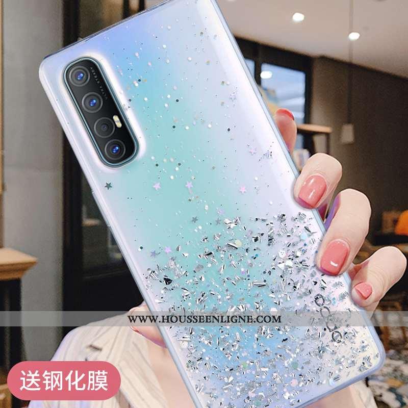 Coque Oppo Reno 3 Pro Fluide Doux Silicone Bleu Téléphone Portable Argent Protection Étui
