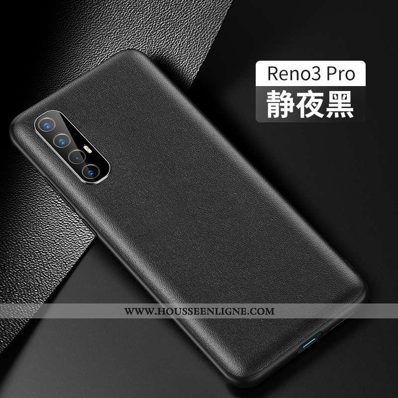 Coque Oppo Reno 3 Pro Mode Protection Étui Cuir Tout Compris Cuir Véritable Personnalité Noir