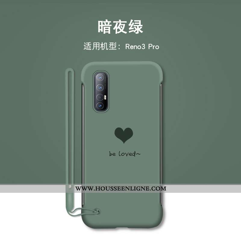 Coque Oppo Reno 3 Pro Personnalité Créatif Bordure Tendance Protection Silicone Amour Verte