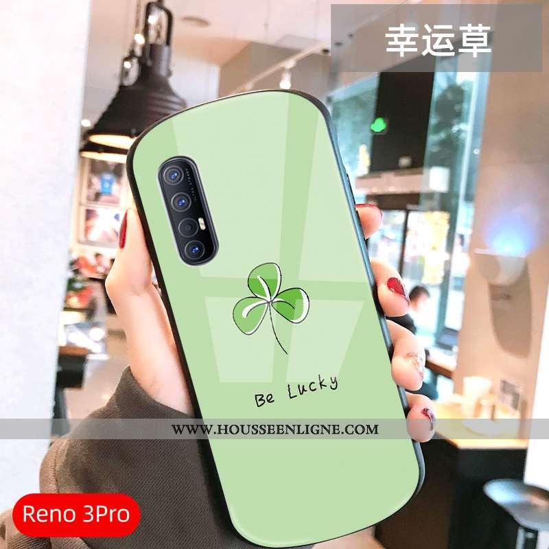 Coque Oppo Reno 3 Pro Verre Ultra Légère Frais Téléphone Portable Amoureux Net Rouge Verte