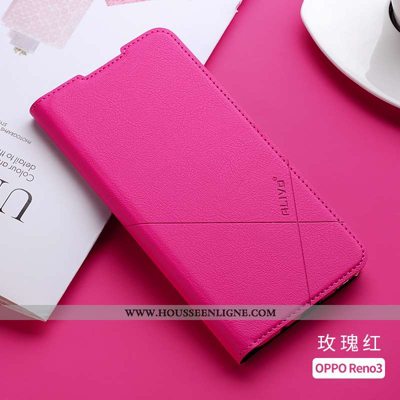 Coque Oppo Reno 3 Protection Cuir Rouge Étui Silicone Incassable Clamshell Rose