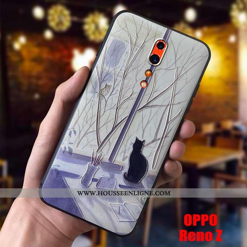 Coque Oppo Reno Z Fluide Doux Silicone Téléphone Portable Étui Légère Délavé En Daim Beige