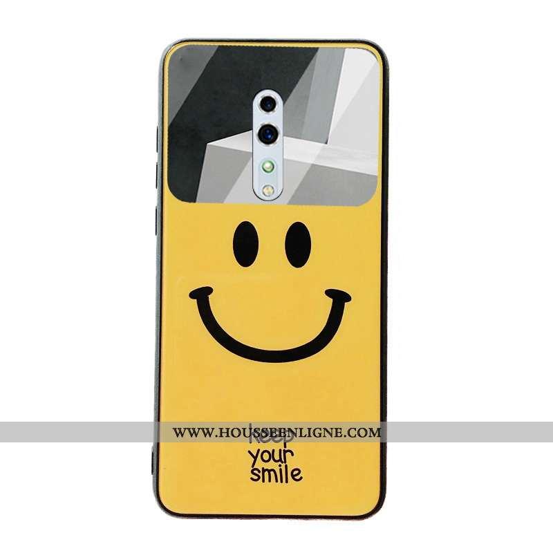Coque Oppo Reno Z Protection Verre Membrane Étui Téléphone Portable Souriant Tempérer Jaune