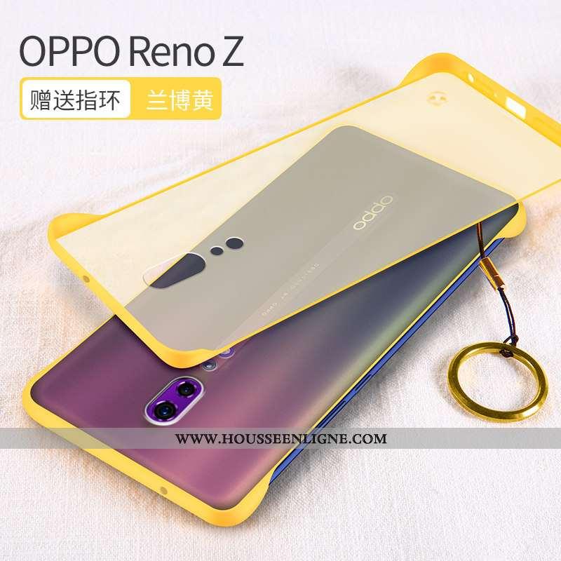 Coque Oppo Reno Z Transparent Délavé En Daim Jaune Incassable Silicone Net Rouge