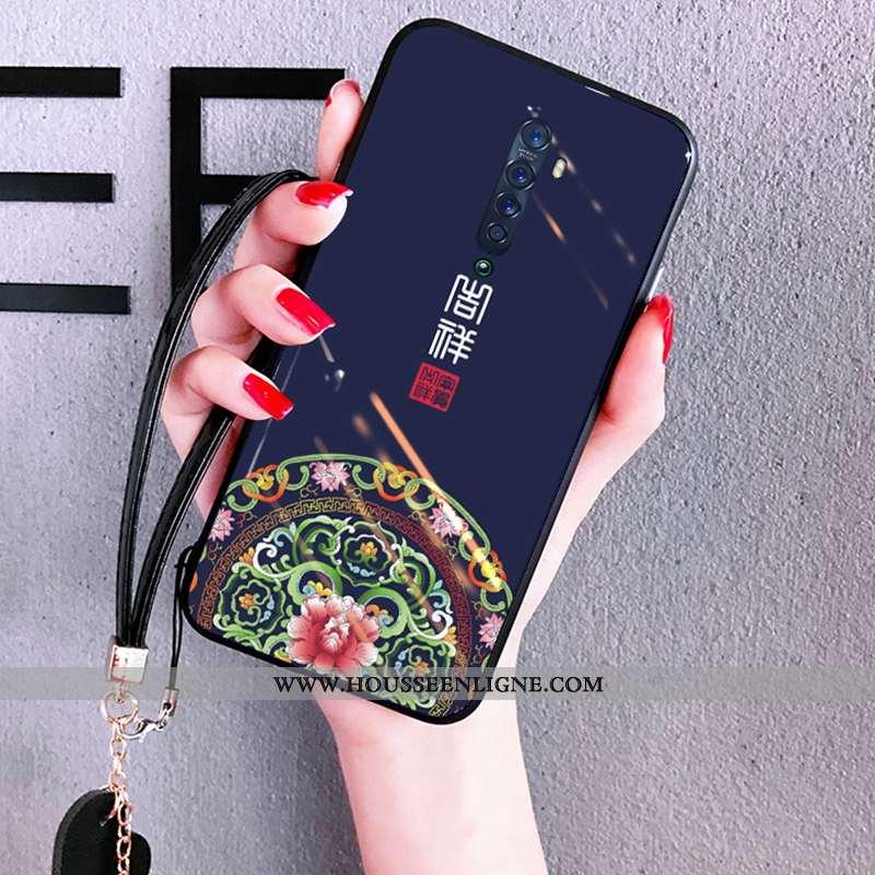 Coque Oppo Reno2 Verre Créatif Téléphone Portable Miroir Incassable Tendance Étui Bleu Foncé