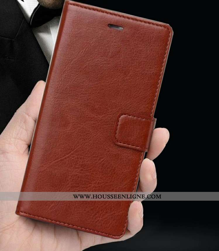 Coque Oppo Rx17 Neo Portefeuille Cuir Carte Marron Téléphone Portable Protection Silicone