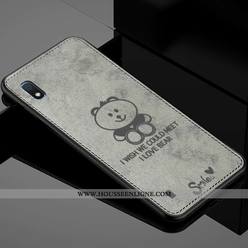 Coque Samsung Galaxy A10 Créatif Modèle Fleurie Protection Mode Étui Tissu Fluide Doux Gris