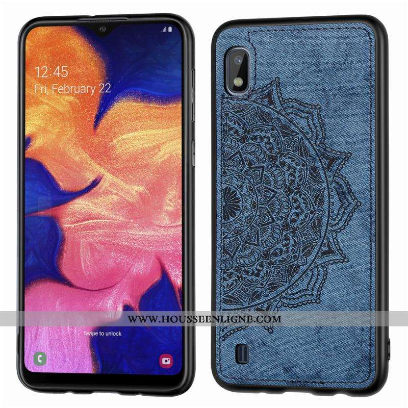 Coque Samsung Galaxy A10 Créatif Modèle Fleurie Téléphone Portable Tissu Personnalité Bleu Marin Ble