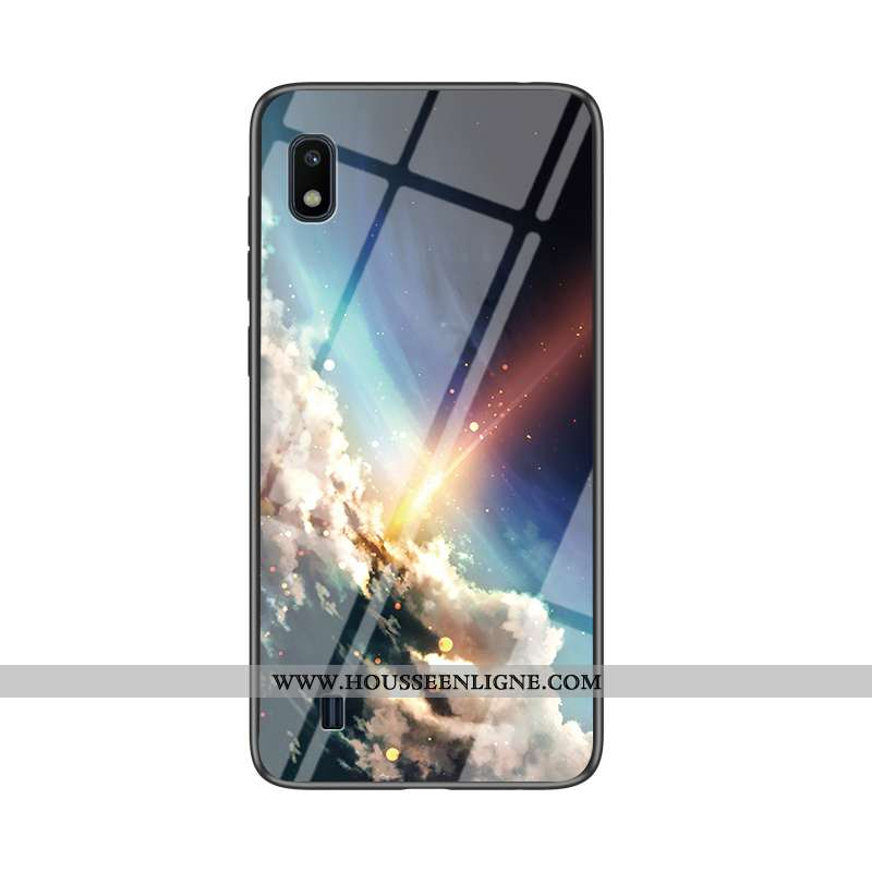 Coque Samsung Galaxy A10 Verre Tendance Fluide Doux Étui Net Rouge Téléphone Portable Bleu Foncé