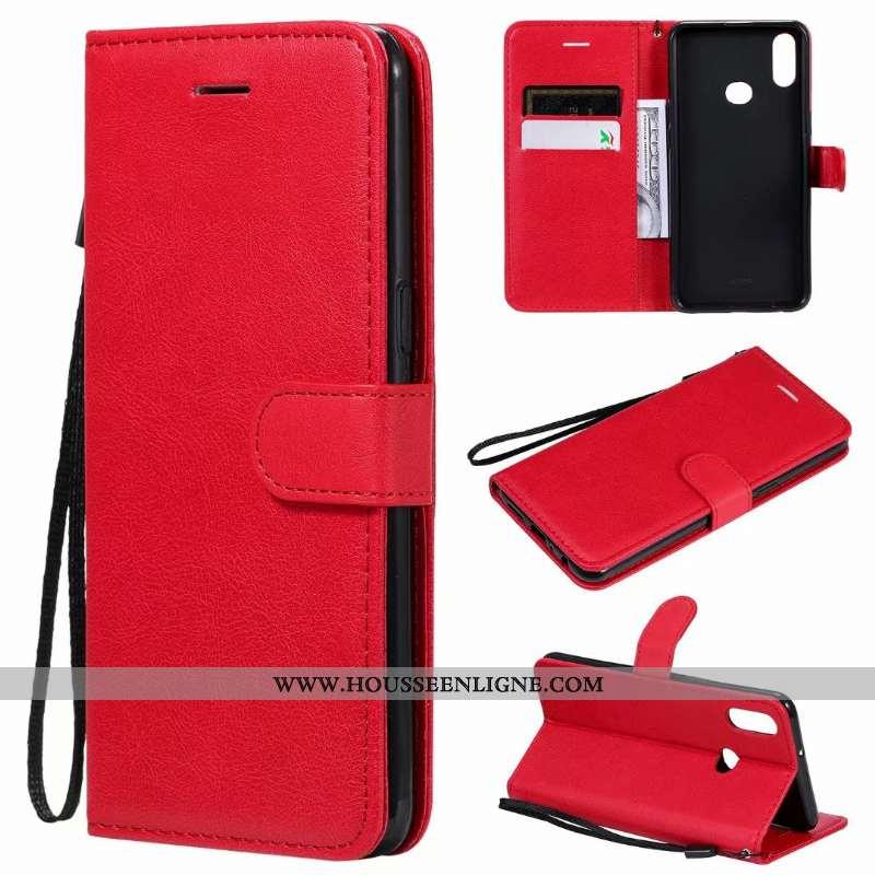 Coque Samsung Galaxy A10s Cuir Clamshell Téléphone Portable Étui Couleur Unie Étoile Rouge