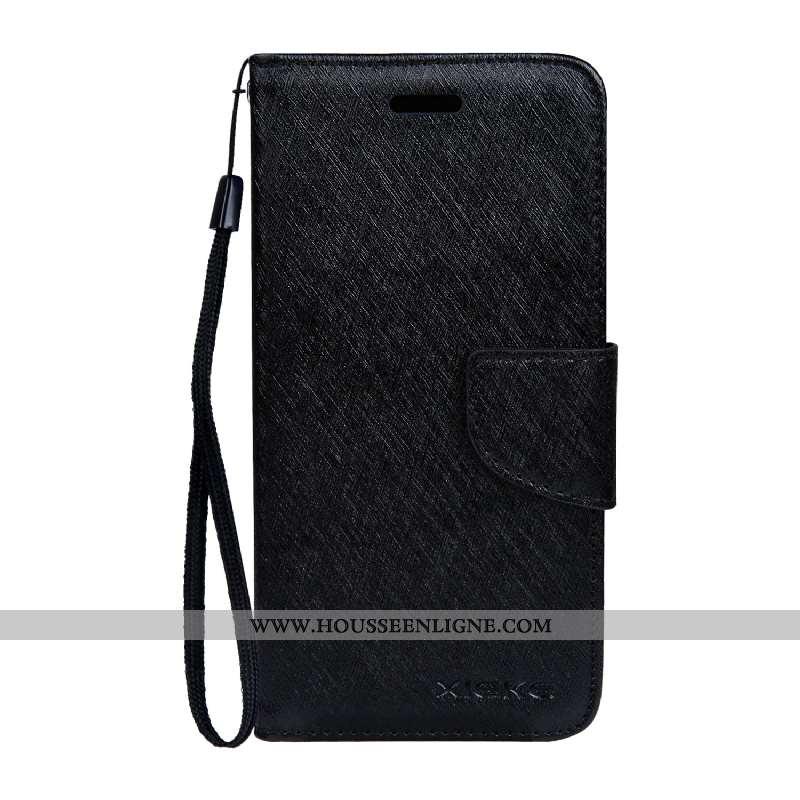 Coque Samsung Galaxy A10s Cuir Modèle Fleurie Étui Housse Soie Mulberry Noir Couleur Unie