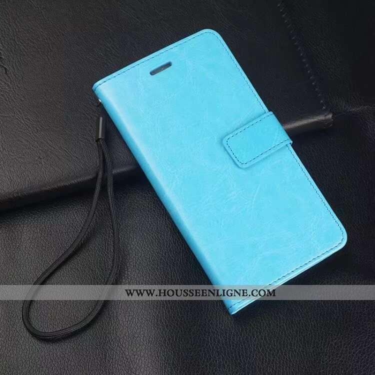 Coque Samsung Galaxy A10s Cuir Véritable Portefeuille Téléphone Portable Membrane Bleu Ornements Sus