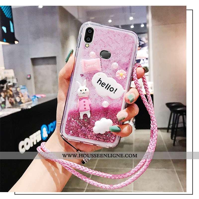 Coque Samsung Galaxy A10s Ornements Suspendus Personnalité Silicone Rose Téléphone Portable Net Roug