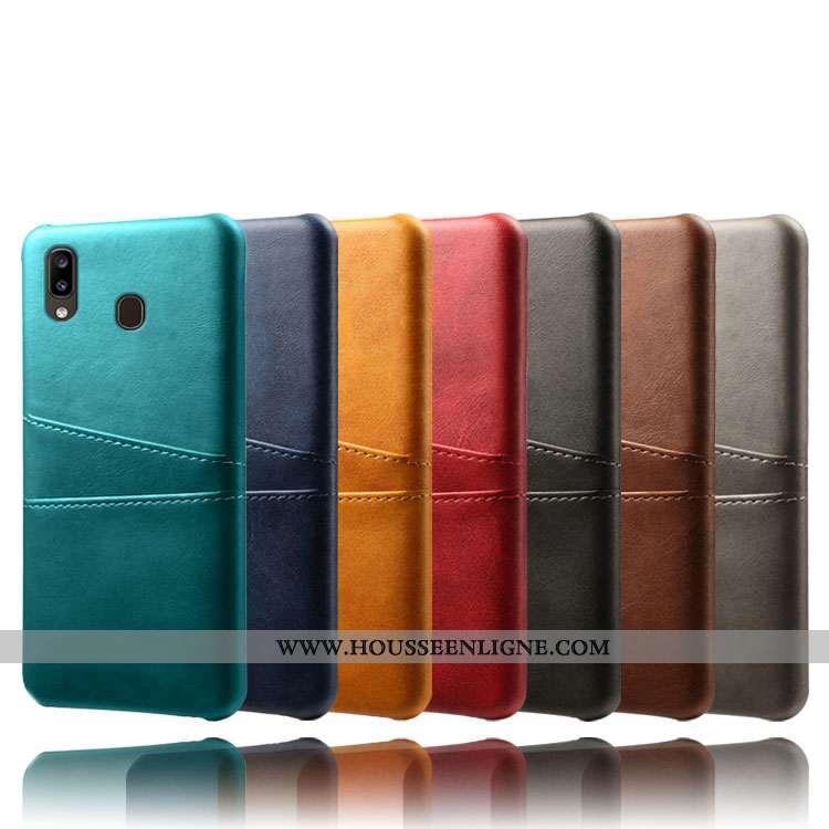 Coque Samsung Galaxy A20e Cuir Modèle Fleurie Vert Étoile Protection Carte Verte