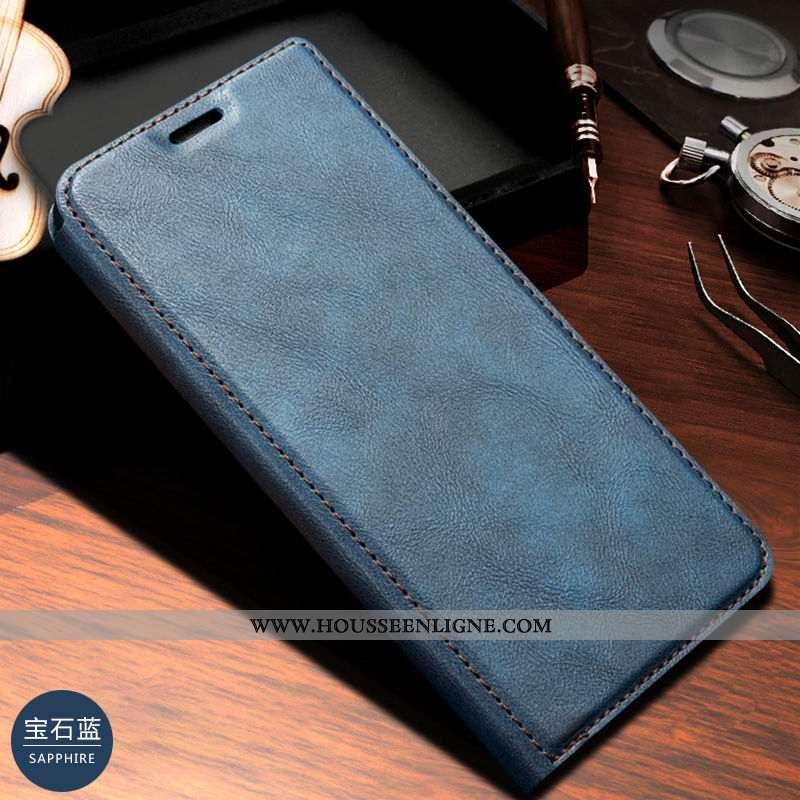 Coque Samsung Galaxy A20e Cuir Véritable Bleu Marin Étui Carte Housse Téléphone Portable Bleu Foncé