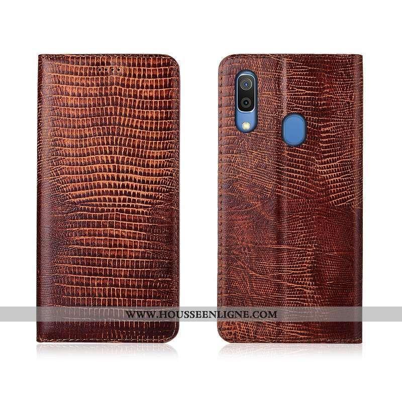 Coque Samsung Galaxy A20e Protection Cuir Véritable Étoile Téléphone Portable Étui Incassable Marron