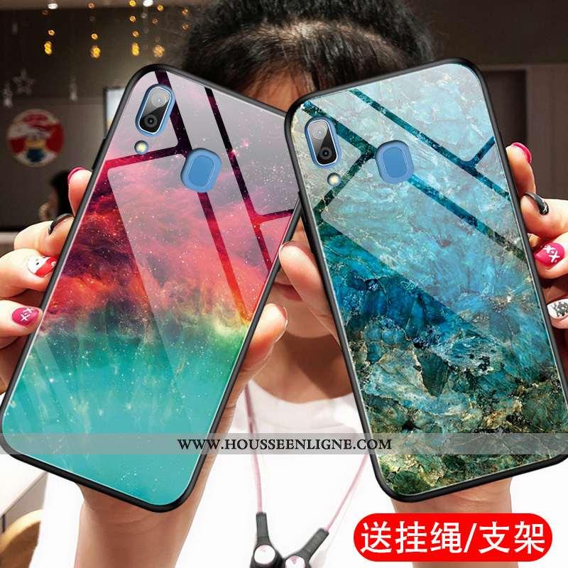 Coque Samsung Galaxy A20e Verre Ornements Suspendus Téléphone Portable Dégradé Support Bleu Étoile