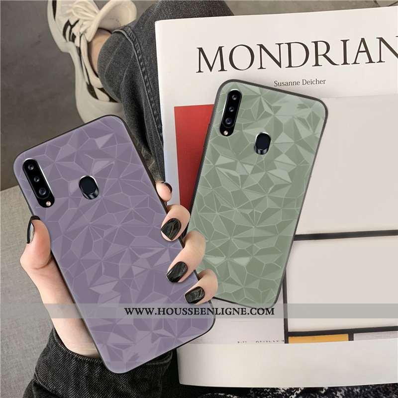 Coque Samsung Galaxy A20s Personnalité Fluide Doux Violet Téléphone Portable Net Rouge Couleur Unie