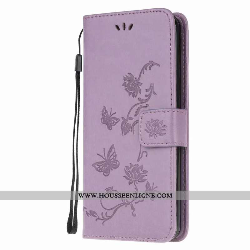 Coque Samsung Galaxy A21s Cuir Étui Violet Clamshell Téléphone Portable Étoile