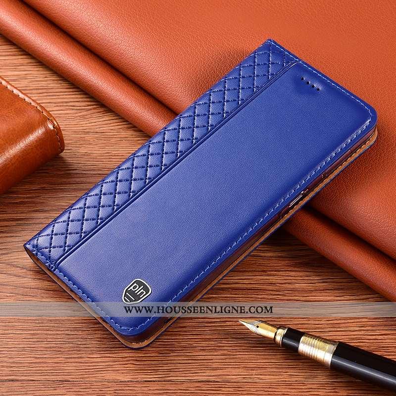 Coque Samsung Galaxy A21s Cuir Véritable Protection Bleu Incassable Étoile Téléphone Portable