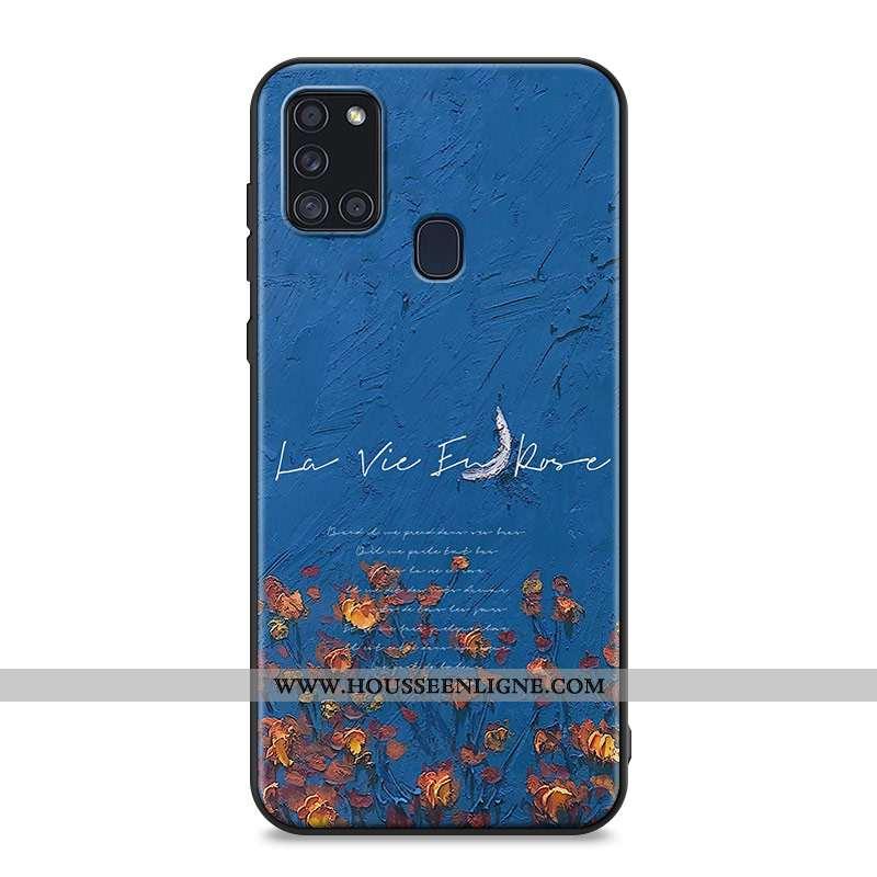 Coque Samsung Galaxy A21s Fluide Doux Silicone Délavé En Daim Fleurs Téléphone Portable Peinture À L