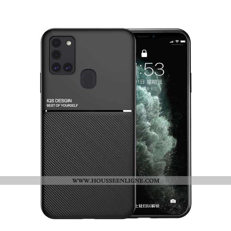 Coque Samsung Galaxy A21s Personnalité Créatif Fluide Doux Délavé En Daim Anneau Étui Ultra Noir
