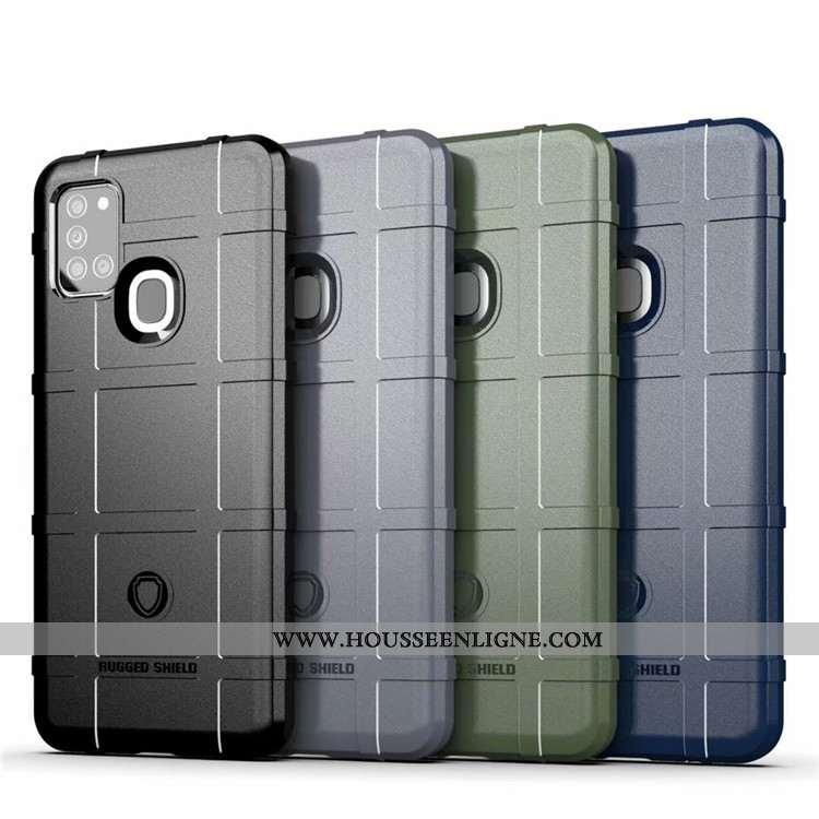 Coque Samsung Galaxy A21s Personnalité Délavé En Daim Téléphone Portable Incassable Trois Défenses É