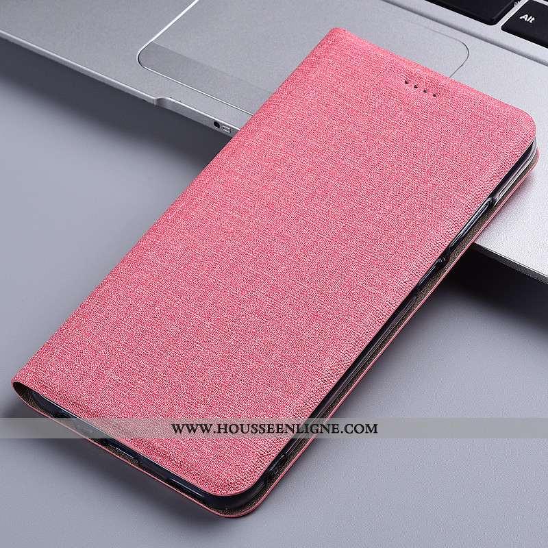 Coque Samsung Galaxy A21s Protection Cuir Étui Housse Lin Téléphone Portable Rose