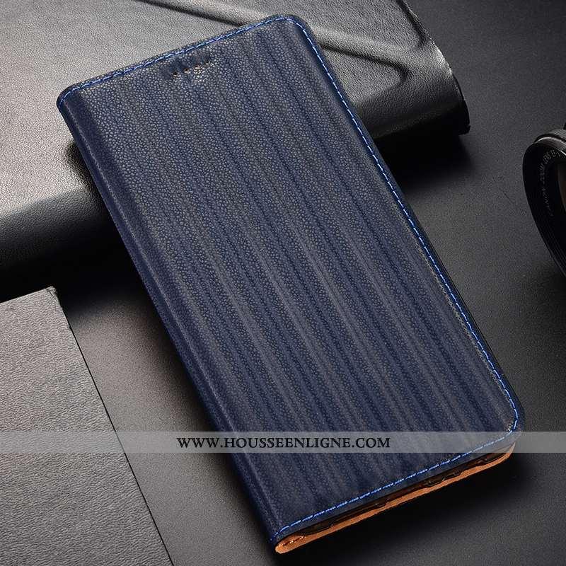 Coque Samsung Galaxy A21s Protection Cuir Véritable Bleu Marin Tout Compris Étui Étoile Incassable B