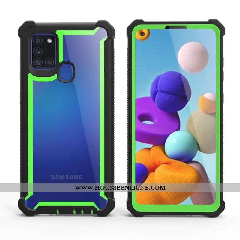 Coque Samsung Galaxy A21s Protection Difficile Vert Tout Compris Téléphone Portable Ballon Étoile Ve