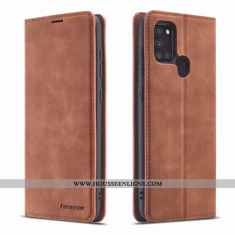 Coque Samsung Galaxy A21s Tendance Cuir Étui Business Tout Compris Incassable Téléphone Portable Mar