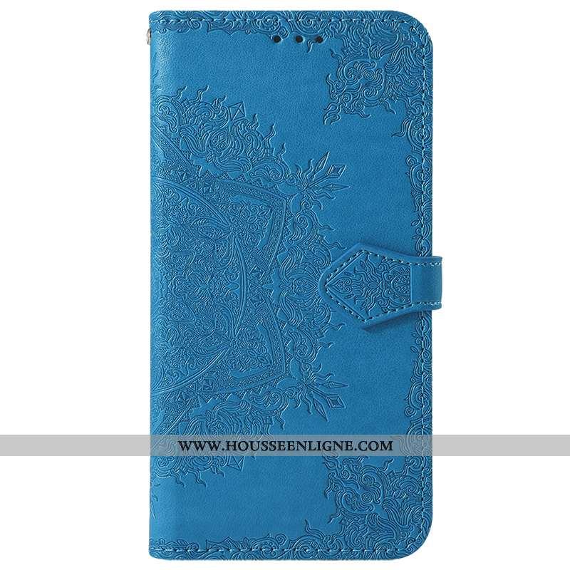 Coque Samsung Galaxy A40 Cuir Modèle Fleurie Carte Clamshell Fleur Fluide Doux Bleu