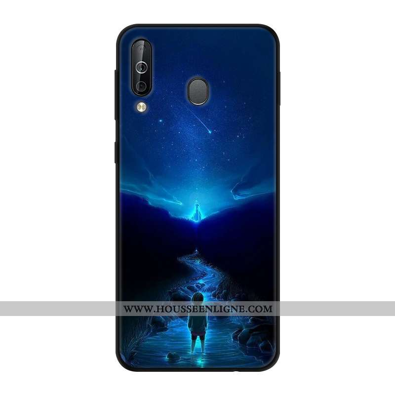 Coque Samsung Galaxy A40s Créatif Protection Verre Incassable Bleu Marin Ciel Étoilé Bleu Foncé