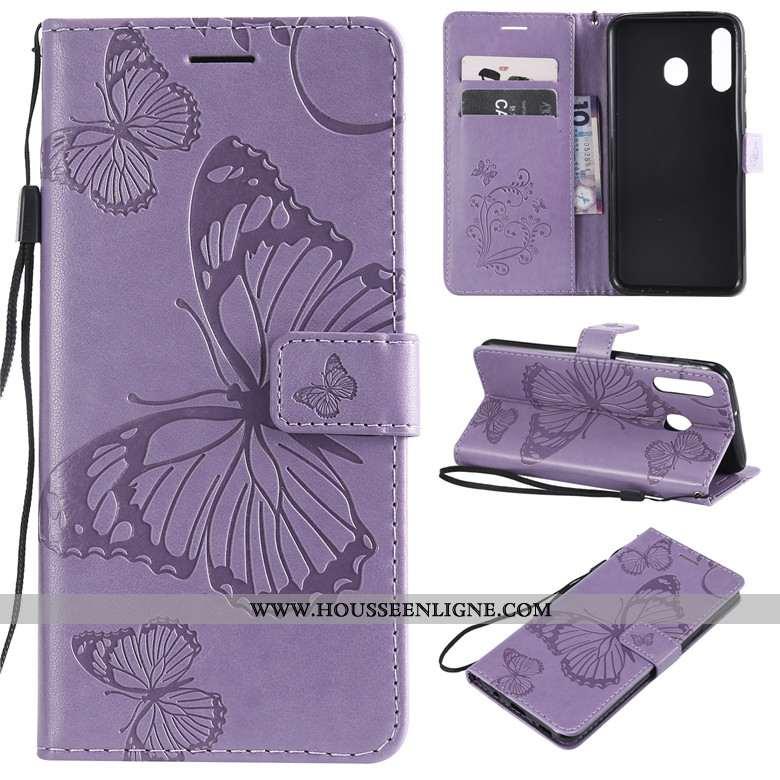 Coque Samsung Galaxy A40s Cuir Fluide Doux Clamshell Violet Portefeuille Étui Téléphone Portable