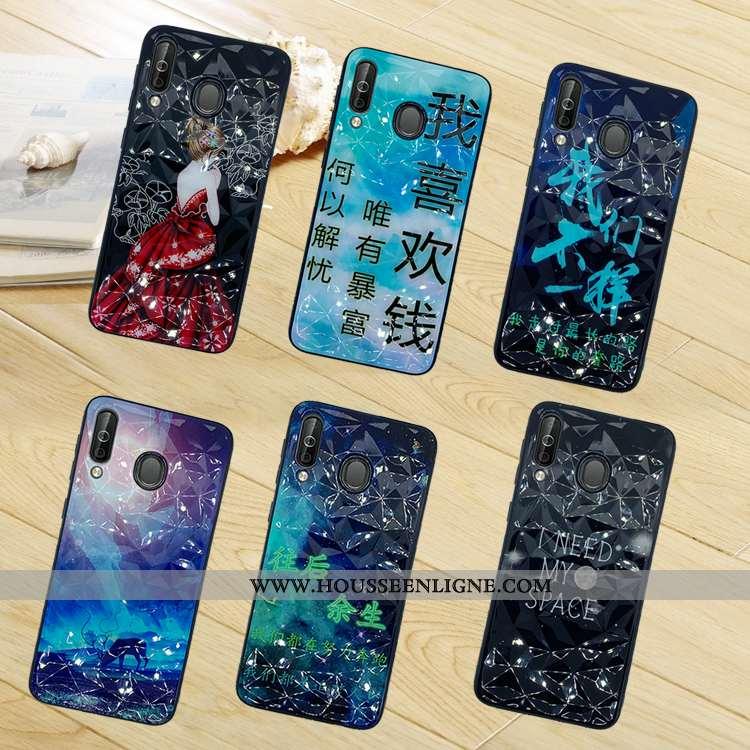 Coque Samsung Galaxy A40s Modèle Fleurie Noir Étui Téléphone Portable Étoile