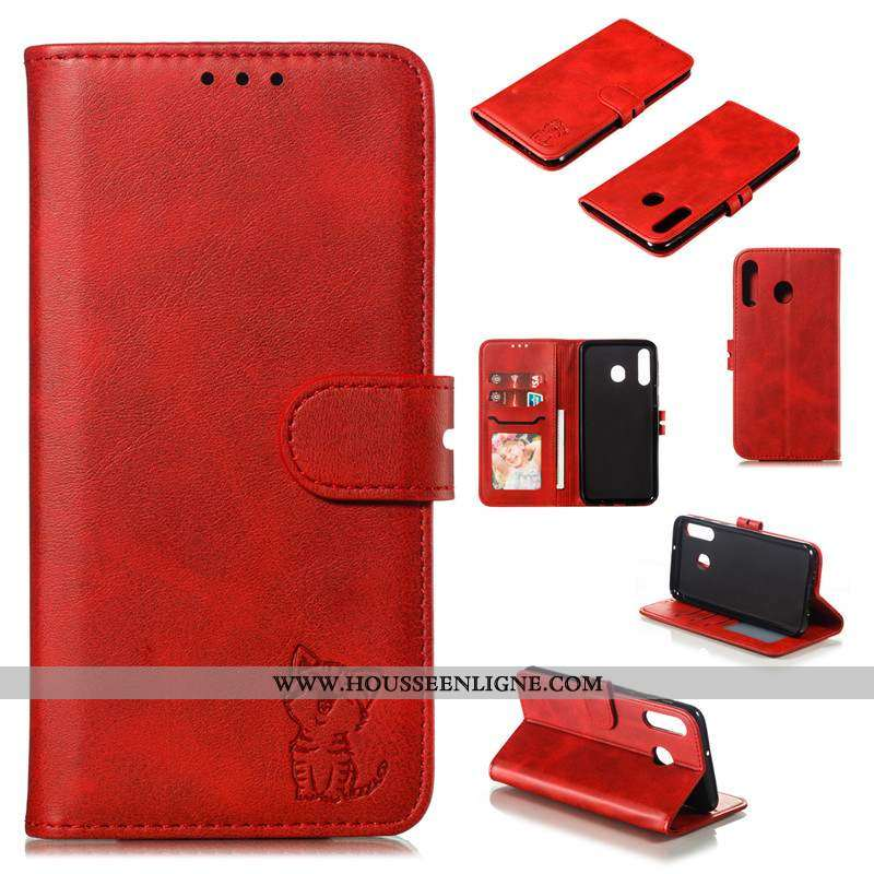 Coque Samsung Galaxy A40s Protection Cuir Téléphone Portable Bovins Housse Rouge