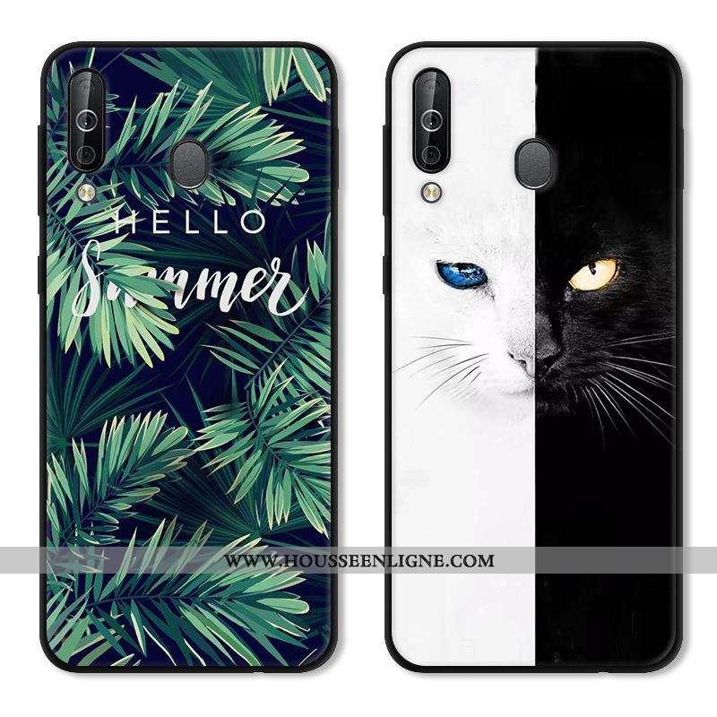 Coque Samsung Galaxy A40s Protection Délavé En Daim Fluide Doux Vert Noir Étui Verte