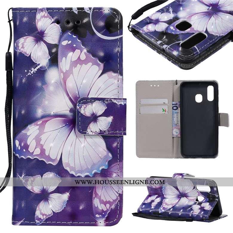 Coque Samsung Galaxy A40s Protection Dessin Animé Étui Téléphone Portable Peinture Étoile Violet